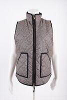 J.Crew Womens Excursion Puffer Vest Jacket Zip S Black White Herringbone G7626
