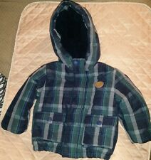 Jacadi Paris navy blue green plaid quilted hooded jacket. 12 month