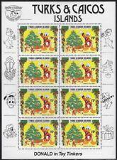 Turks & Caicos Disney, Donald Duck Christmas MNH Sheet of 6, Sc #648 -pw66