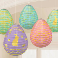 5 Pack Easter Mini Egg Shaped Paper Lanterns Hunt Party Hanging Decorations