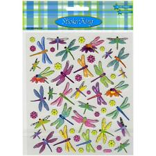 Scrapbooking Crafts Stickers Colorful Dragonflies Yellow Purple Flowers Bright