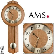AMS Reloj de pared 5165/4 MIT Péndulo Radio madera maciza roble