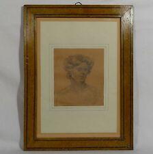 Tableau dessin ancien portrait de femme de caractère XIX graphite