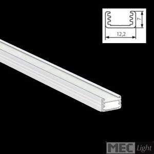 1m ALU-Profil / Leiste SLIM-8 (12x7mm) in weiß eloxiert + opaler Abdeckung