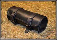 Sacoche de fourche / Rool bag à outils Cuir Souple Simple pour moto custom trike
