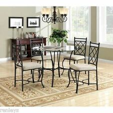 5 Piece Glass Top Vintage Metal Dining Set Home Kitchen Breakfast Furniture Nook