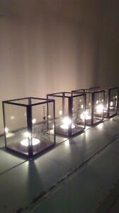1 box of 4 Christmas Lantern Tea Light Holders Black metal and glass NEW in box