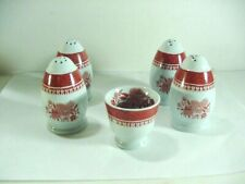 COPELAND SPODE: 2 SETS OF SALT & PEPPER SHAKERS + EGG CUP:  FITZHUGH IN RED