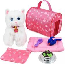 Kids Kitten Cat Play Set Animal Collar Carrier Bed Food Bowl Toy Girl Gift NEW