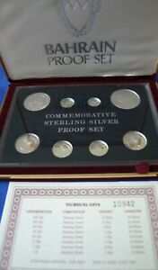 Rare. Bahrain 1973-1983 Box Proof Set of 8 Silver Coins