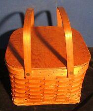 Vintage Woven Wood Picnic  Basket With Dual Level Pie Shelf