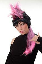 Donna Uomo Parrucca Halloween Carnevale Anni 80 Pop Punk Wave Iro lungo nero