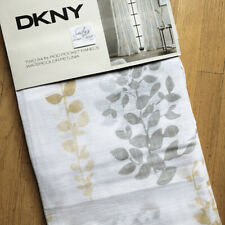 DKNY Watercolor 2 WINDOW CURTAINS Panels Drapes GRAY GOLD Yellow 50x84""