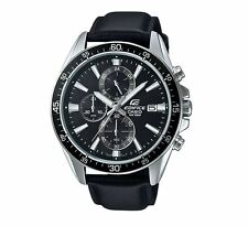 Casio EFR546L-1A Edifice Black and Silver Leather Band Watch 10 ATM RRP $249