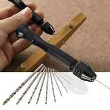 Aluminum Mini Micro Hand Drill Keyless Chuck + 10pcs Rotary Drills Twist To U6L4