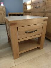 Sydney Modern Chunky Oak 1 Drawer Lamp Table / Small Bedside Table