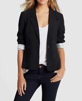 $244 Kensie Women's Black One-Button Fitted Suit Jacket Blazer Sport Coat Size L