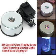 3D Crystal Glass Trophy Laser 4 LED Rotating Electric Light Stand Base Display