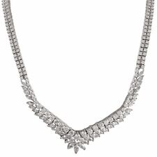"""Sterling Silver Two Row White CZ Womens Tennis 18"""" Y Necklace"""