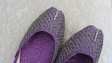 PURPLE LADIES INDIAN LEATHER WEDDING   KHUSSA SHOES   SIZE 6