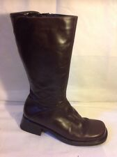 Firence Brown Mid Calf Leather Boots Size 39