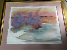 """Large Norm Wilson """"Abstract Landscape Scene"""" Watercolor Painting - Signed/Framed"""