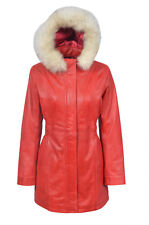 Ladies Irene Fashion Casual Hooded Style Red Nappa Leather Trench Coat Jacket