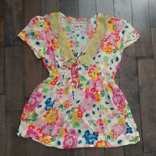 Johnny Was Women's Floral Embroidered Babydoll V Neck Tie Short Sleeve Top Small