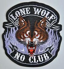Lone Wolf No Club Embroidered Cloth Iron On Patch Motorcycle 28 X 26 cm