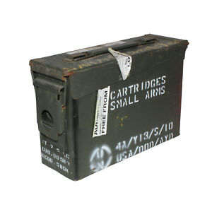 "30 CAL AMMUNITION BOX AMMO STEEL FULLY SEALED GRADE ""B"" CONDITION"