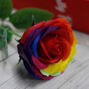 Single Rainbow Rose Soap - romantic, Valentine's Day, gift, luxurious, fragrance
