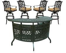 Outdoor 5 Piece Patio Party Bar Set Cast Aluminum Garden Swivel Stools Bronze