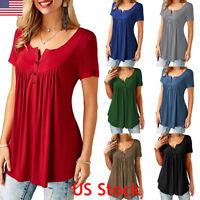 US Womens Plain V Neck Ladies Short Sleeve Boyfriend Shirt Dress Tops Plus Size