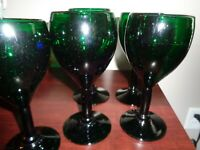 Forest Emerald Green Handblown Bubble Goblets Set of 6
