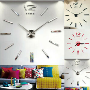 Large 3D Mirror Surface Wall Clock Stickers DIY Home Office Room Mural Vinyl Rem