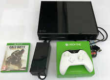 Xbox One Console with White Controller Cables and Call of Duty Game
