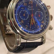 Waldan International (Zenith 3019) 18k White Gold Triple Date Moon Chronograph