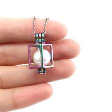 Multi Color Antique Pearl Cage Hollow Square Diffuser Locket Necklace Chin C246