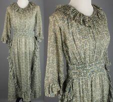VTG 1910s 1920s Women's Green Cotton Printed Sheath Dress #1594 10s 20s Teens