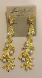 Kenneth Jay Lane Gold Plated Coral Reef Earrings Pearl Crystals NEW RRP £150