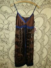 NWT Hale' Bob Dress Brown And Blue Embellished W Sequins And Beads Size  M..