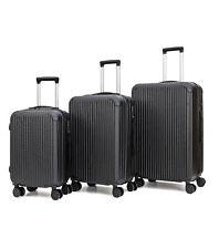 Set de 3 Valises de Voyage Coque ABS Léger Bagages Valise Trolley Noir