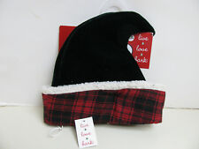 Live Love Bark HOLIDAY DOG HAT - XL-XXL - Green with Red Plaid Trim - NEW