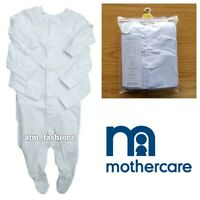 New Mothercare Boys Girls Babygrow Poppers All In One 3x Baby White Sleepsuit