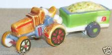 TRACTEUR AGRICOLE MARRON REMORQUE VERTE FEVE PORCELAINE 3D 1/160