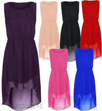 New Womens Plus Size Chiffon Uneven Aymmetric Hem Dress Dip Hem Party Dresses