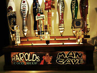 REMOTE CONTROL PERSONALIZED  MAN CAVE BEER TAP HANDLE DISPLAY BAR SIGN HOLDS 18