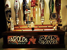 LIGHTED TAP HANDLE HOLDER / PERSONALIZED BAR SIGN HOLDS 18 TAPS