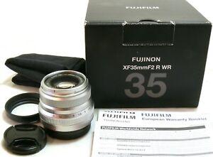 Fujifilm Fuji Fujinon XF 35mm f/2 R WR Super EBC lens silver, boxed MINT #38328