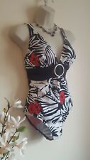 Floral Black White Red Low Back Swim Suit Swimming Costume Size 16  Retro 50s